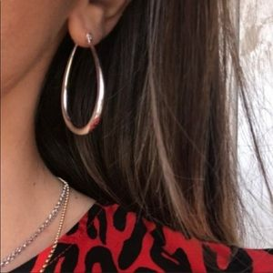 ¥¥ NEW S925 STERLING SILVER OVAL HOOP EARRINGS